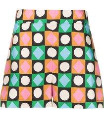 la doublej geometric-print silk shorts - green
