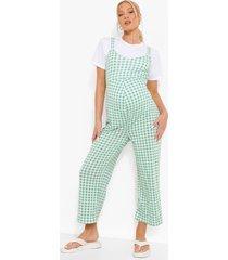 zwangerschap gingham culotte jumpsuit, green