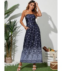 yoins blue tube top tribal side pocket sleeveless maxi dress