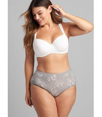 lane bryant women's no-show full brief panty 30/32 frost grey floral