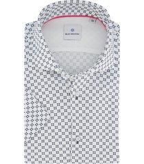 blue industry shirt korte mouw wit geprint