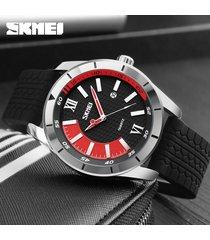 reloj de cuarzo informal para hombres de negocios-rojo