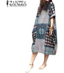 zanzea verano floja ocasional del algodón de lino de gran tamaño de la impresión floral de los vestidos shift mediodía vestido de las mujeres de la vendimia vestidos de manga corta -multicolor