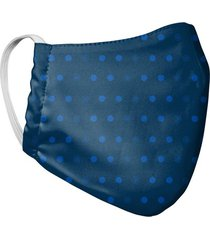 tapabocas mascara para hombre doble capa estampado puntos tela antifluido - azul oscuro
