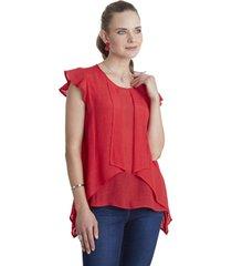 blusa con capas rojo curvi