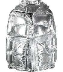 perfect moment tied waist hooded padded jacket - silver