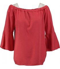 geisha soepel coral off shoulder shirt 3/4 mouw van stevig lyocell