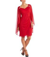 r & m richards embellished cape-overlay dress