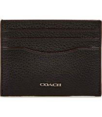 coach men's pebble leather card case - black