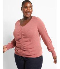 lane bryant women's v-neck ruched sweater 26/28 mesa rose