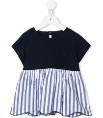 il gufo panelled striped tunic - blue