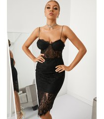 yoins black diseño sin espalda con ribete de encaje spaghetti midi vestido