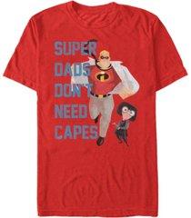disney pixar men's incredibles super dads no capes, short sleeve t-shirt