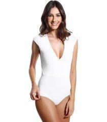 body le lis blanc detalhe manga ana 3 underwear off white feminino (off white, gg)