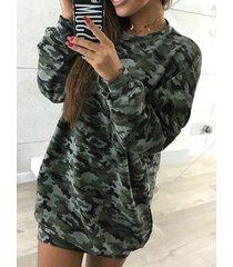 army green camo round cuello manga larga vestido
