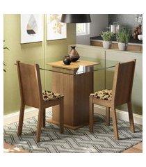conjunto sala de jantar madesa mila mesa tampo de vidro com 2 cadeiras marrom