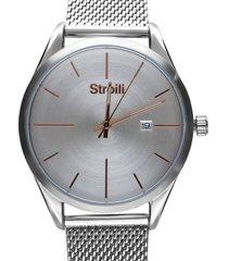 marrakech 3h orologio silver con quadrante silver e dettagli rose gold per uomo
