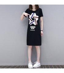 las mujeres vestido de verano a media longitud slim delgado largo de manga corta camiseta femenina falda