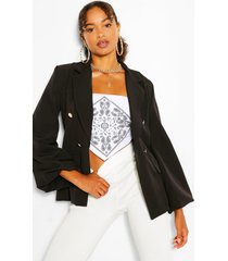 extreme puff sleeve double breasted blazer, black