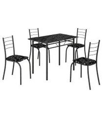 mesa com 4 cadeiras para cozinha rio teixeira craquelada preta