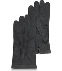 forzieri designer men's gloves, men's cashmere lined black italian calf leather gloves