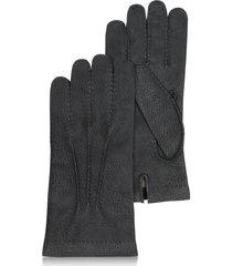 forzieri designer men's gloves, men's cashmere lined black italian calf leather gloves