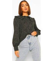 blouse met stippen, kraag en knopen, black