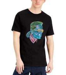karl lagerfeld paris men's neon profile sketch graphic t-shirt