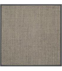 safavieh natural fiber natural and dark gray 6' x 6' sisal weave square area rug