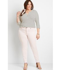 maurices plus size womens high rise light pink double button jegging made with repreve