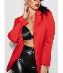 yoins blazer rojo de manga larga con cuello de solapa elegante