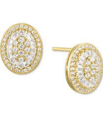 diamond baguette oval stud earrings (1/2 ct. t.w.) in 14k gold, 14k white gold or 14k rose gold