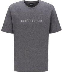 pyjama-t-shirt van stretchkatoen met verkort metallic logo