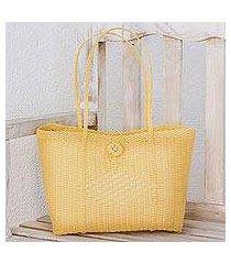 recycled plastic tote handbag, 'sunny morning' (guatemala)