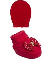 conjunto beb㪠sapatinho e luva poã¡- 02 peã§as - vermelho - menina - dafiti
