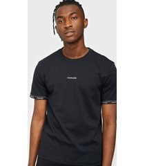 calvin klein logo cuff t-shirt t-shirts & linnen black