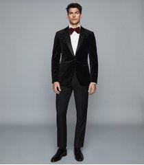 reiss ace - velvet blazer in black, mens, size 48