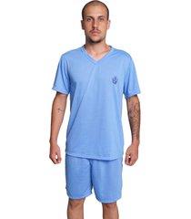 pijama serra e mar modas masculino liso manga curta azul claro - azul - masculino - poliã©ster - dafiti