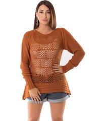 blusa urban lady tricot rendada caramelo