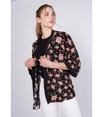 kimono floreado negro  sioux