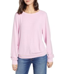 women's wildfox baggy beach jumper pullover, size large - pink