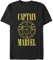 marvel men's captain marvel yellow captain marvel symbol short sleeve t-shirt