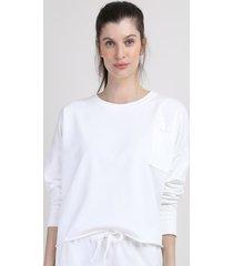 blusão de moletom feminino mindset cropped com bolso decote redondo off white