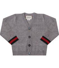 gucci grey babyboy cardigan with web detail
