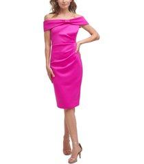 jessica howard off-the-shoulder side-tuck dress