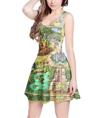 disneyland colorful map sleeveless dress