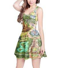 disneyland colorful map sleeveless dress