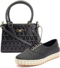 kit ousy shoes sapatênis sola tricê + bolsa baú media metalasse lançamento preto