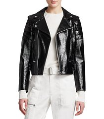 glossy leather cropped biker jacket