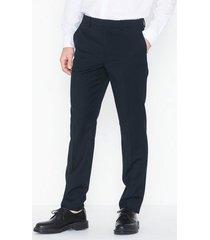 topman navy textured slim fit suit trousers byxor dark blue